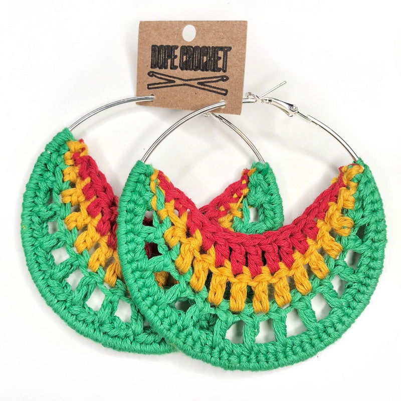 RYG Hoops - Red Yellow Green Crochet Hoops - Cotton Hoops