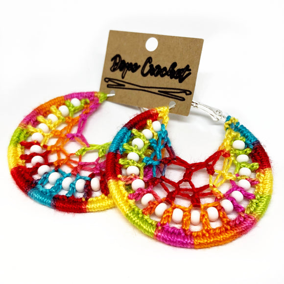 Bright Rainbow Beaded Webbed Crochet Hoops