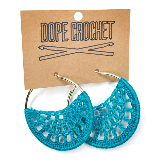 Teal crochet hoops
