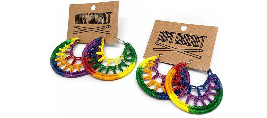 Rainbow Webbed Crochet Hoops