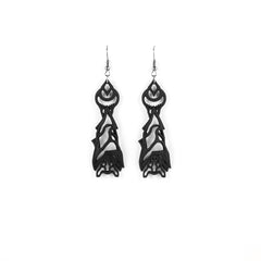 Bat Familiar Earrings in Black