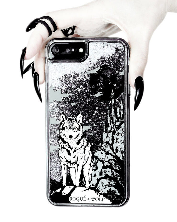 Castle Whitewolf  - Shock Resistant Phone Case - Silver Glitter