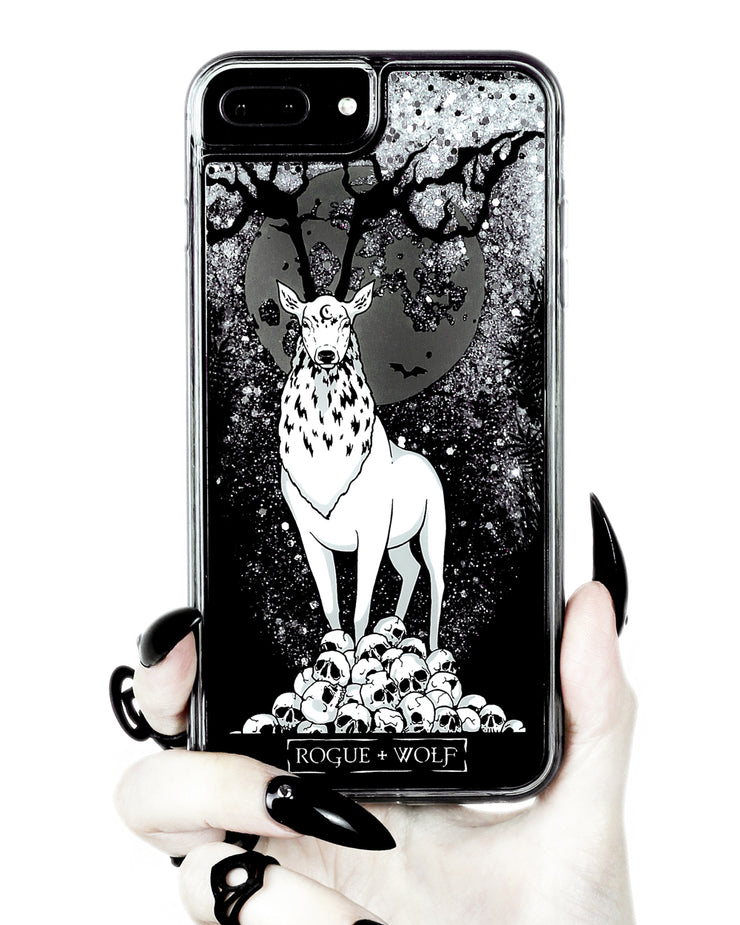 Stag Guardian - Shock Resistant Phone Case - Silver Glitter