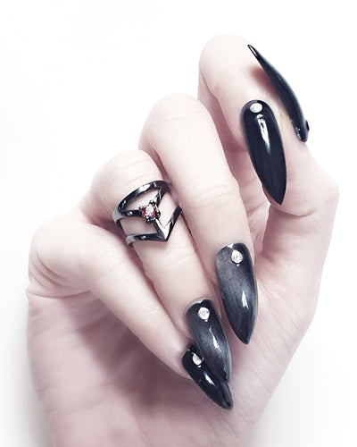 Affection Black Silver Midi Ring US2 to US6