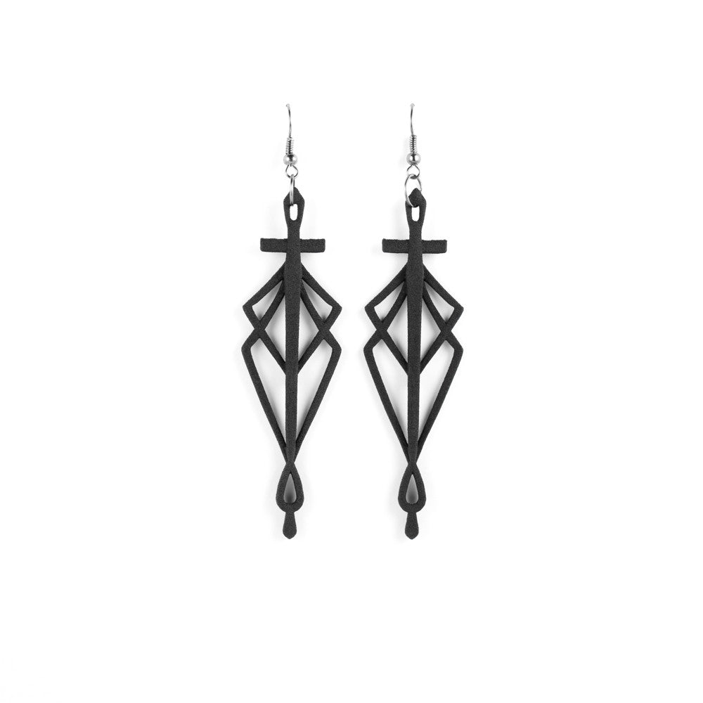SpiderSilk Blade Earrings in Black