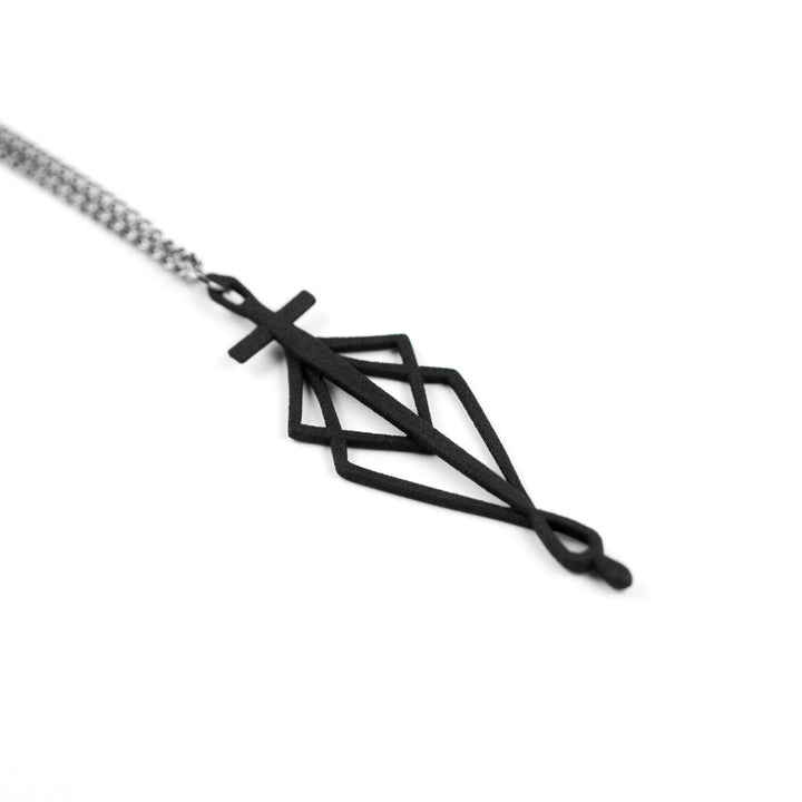 SpiderSilk Blade Necklace in Black