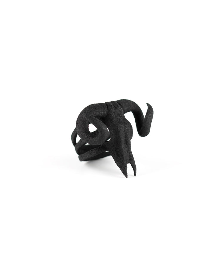 Ram Skull Ring in Black