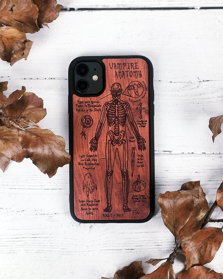 Vampire Anatomy - Engraved Rose Wood Phone Case