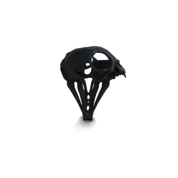 Cat Skull Ring in Black