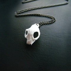 Cat Skull Necklace in White