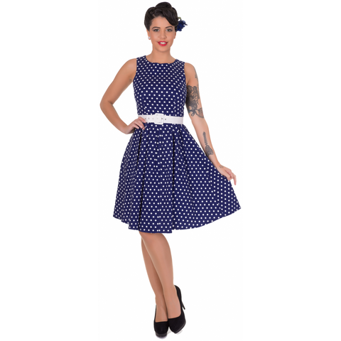 Dolly & Dotty Lola Classic Vintage Sailor Dress in Navy Blue