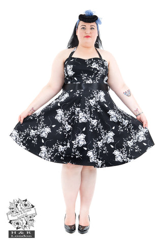 Hearts & Roses Black and White Vintage Floral Prom Dress