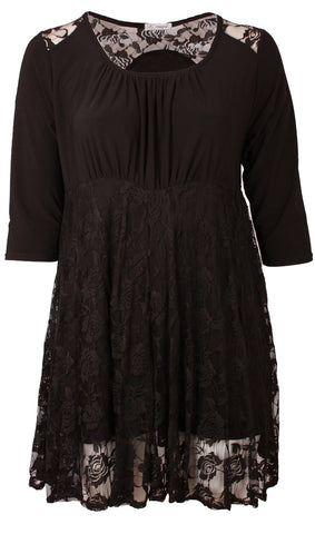 Black Lace Overlay Tunic Top