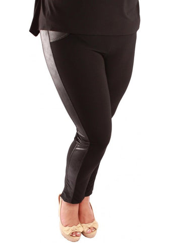 Magna Leather look Side Panel Leggings in Black