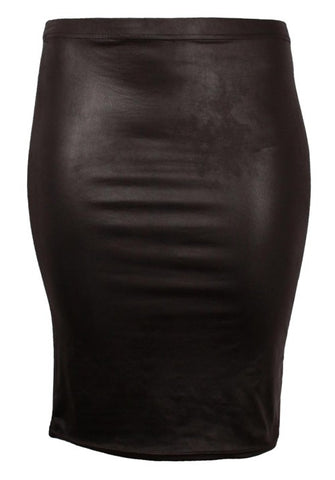 Magna Leather Look Midi Skirt in Black