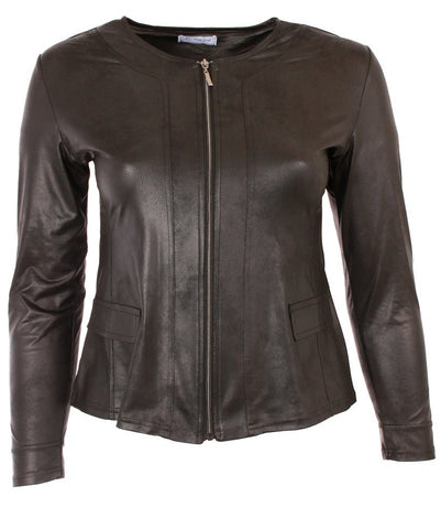 Leather Look Black Jacket with Center Zip