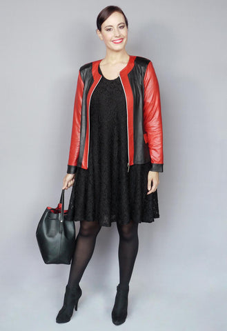 Magna Leather Look Jacket with Center Zip in Red and Black