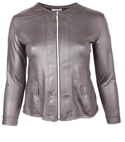 Magna Leather Look Jacket with Center Zip in Dark Grey
