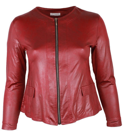 Leather Look Jacket with Center Zip in Red Wine