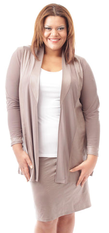 Leather Look Blazer in Taupe