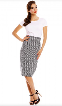 Dolly & Dotty Dog-Tooth Pencil Skirt with  Buttons