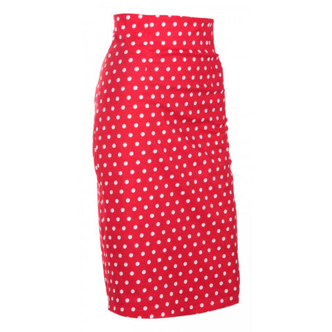Falda Chic Vintage Inspired Pencil Skirt in Red Polka Print