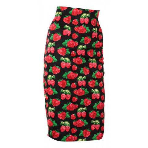 Dolly & Dotty Falda Chic Vintage Inspired Pencil Skirt in Black/Strawberry Print