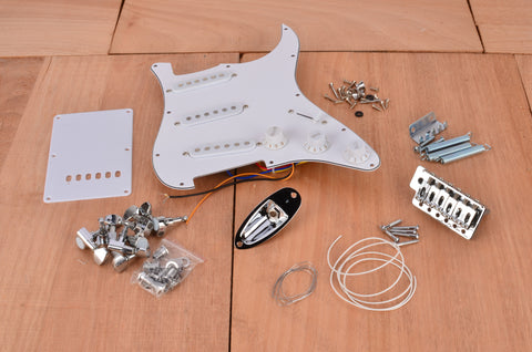 Basic Standard Series Floating Tremolo Complete Assembly Kit With White PIckguard