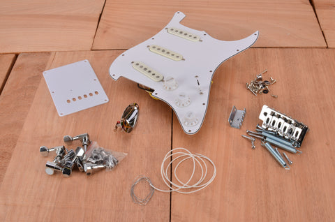 Premium Standard Series Floating Tremolo Complete Assembly Kit With White PIckguard