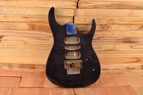 Transparent Black Basswood Flame Top Floating Tremolo Modern Series Guitar Body - Clearance