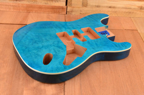 Quilted Coral Blue Mahogany Standard Series Guitar Body - Clearance