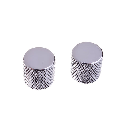 Chrome Knurled Flat Top Guitar Knobs
