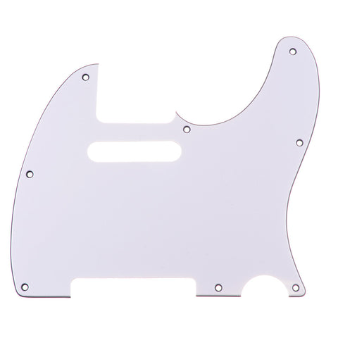 Telecaster Three Ply White Guitar Pickguard