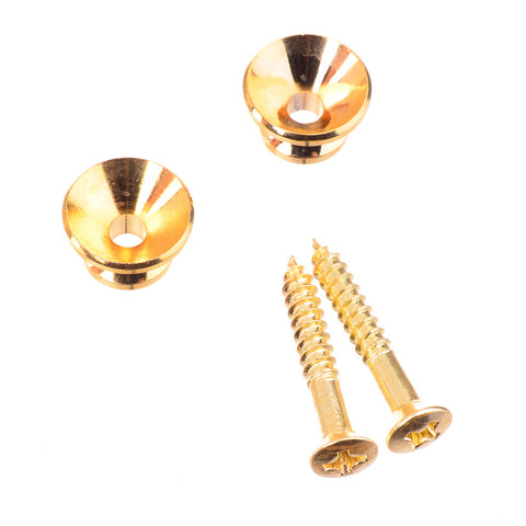 "Gold ""Cone"" Shaped Guitar Strap Buttons With Screws"