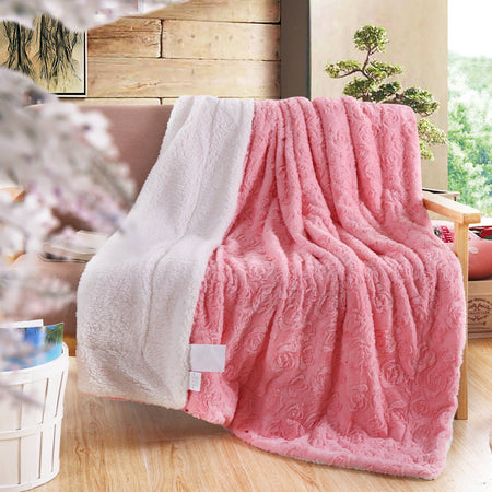 Faux Fur / Sherpa Pink Throw Blanket