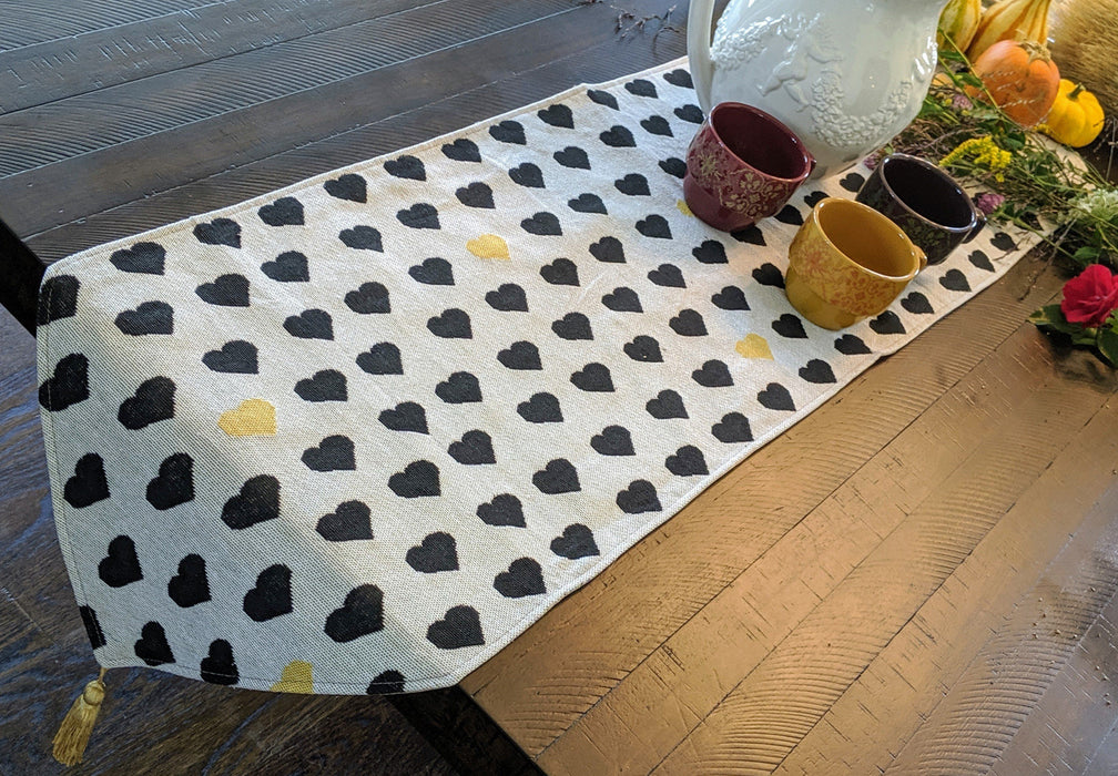 TABLE RUNNER - DaDa Bedding Elegant Woven Tapestry Table Runner, Lovely Black and Yellow Hearts (18113) - DaDa Bedding Collection