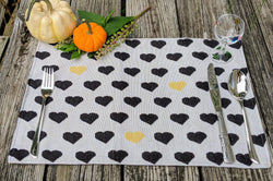 "Placemat - DaDa Bedding Lovely Black and Yellow Hearts Placemats, Set of 4 Tapestry 13"" x 19"" (18113) - DaDa Bedding Collection"