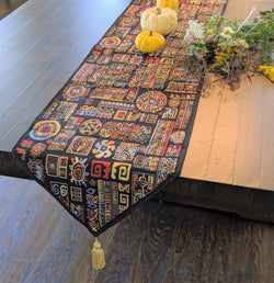 TABLE RUNNER - DaDa Bedding Elegant Woven Tapestry Table Runner, Ethnic Ornaments Geometric Black (18118) - DaDa Bedding Collection