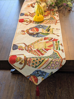 TABLE RUNNER - DaDa Bedding Elegant Woven Tapestry Table Runner, Dancing Women African Dreams (18117) - DaDa Bedding Collection