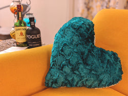"Throw Pillow - DaDa Bedding Hand-Made Lucky Irish Teal Green Faux Fur Heart Shaped Throw Pillow - 16"" x 14"" - DaDa Bedding Collection"