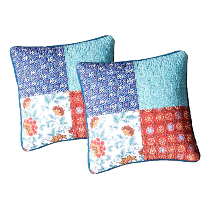 "DaDa Bedding Set of 2 Bohemian Vibes Patchwork Floral Throw Pillow Covers, 18"" (JHW878)"