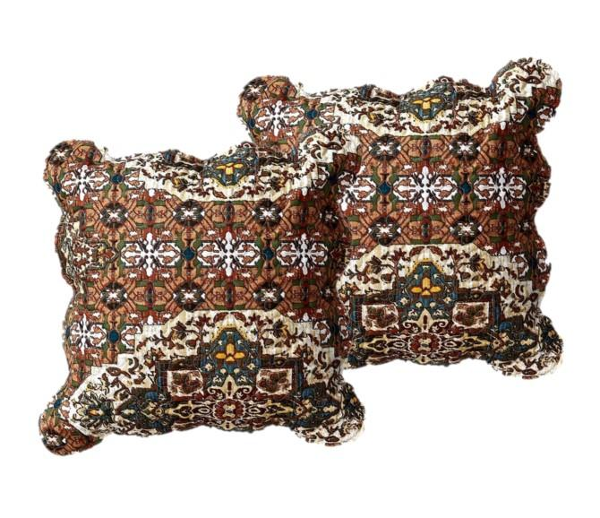 "DaDa Bedding Set of 2 Rustic Earthy Cross Motif Folk Style Scalloped Throw Pillow Covers, 18"" (JHW944)"