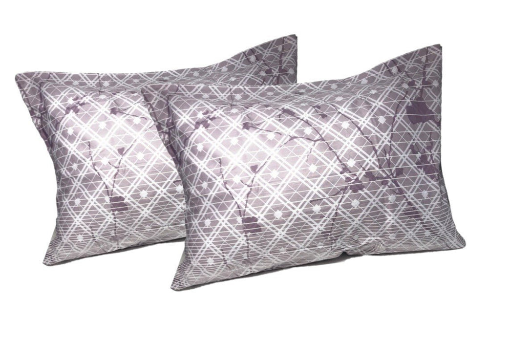 "DaDa Bedding 2-Pack Purple Grey Floral Cherry Blossom Pillow Cases - Queen Size 20"" x 30"" (8318)"