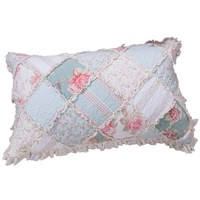 DaDa Bedding Hint of Mint Cottage Floral Cotton Patchwork Pillow Sham (JHW3036)