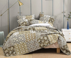 DaDa Bedding Bohemian Patchwork Moroccan Paisley Dreams Bedspread Set, Olive Green (JHW-885)