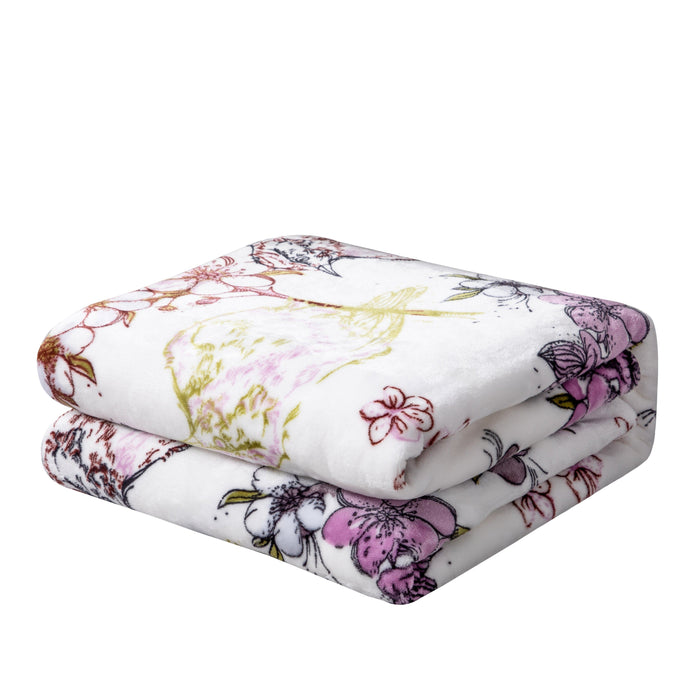 BLANKET - DaDa Bedding Soft Plush Fleece Throw Blanket, Blossoming Wonderland Floral Birds (XY1010) - DaDa Bedding Collection