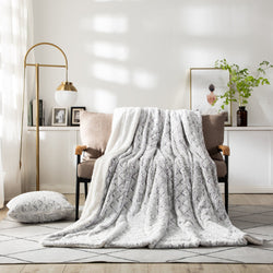 Throw Blanket - DaDa Bedding Luxury Plush Faux Fur Sherpa Throw Blanket, Dreamy Milky White White & Purple (M3395) - DaDa Bedding Collection