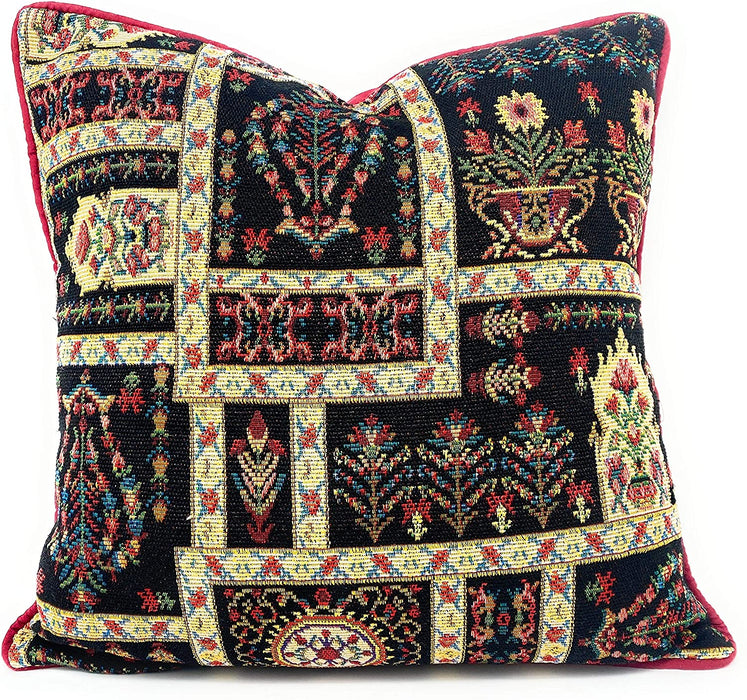 "DaDalogy Bedding Dark Noir Botanical Garden Vintage Fleur Tapestry Throw Pillow Covers 16"" (18197)"