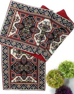 DaDalogy Bedding Elegant Woven Tapestry Table Runner, Majestic Red Persian Rug Ornate Floral (18195)