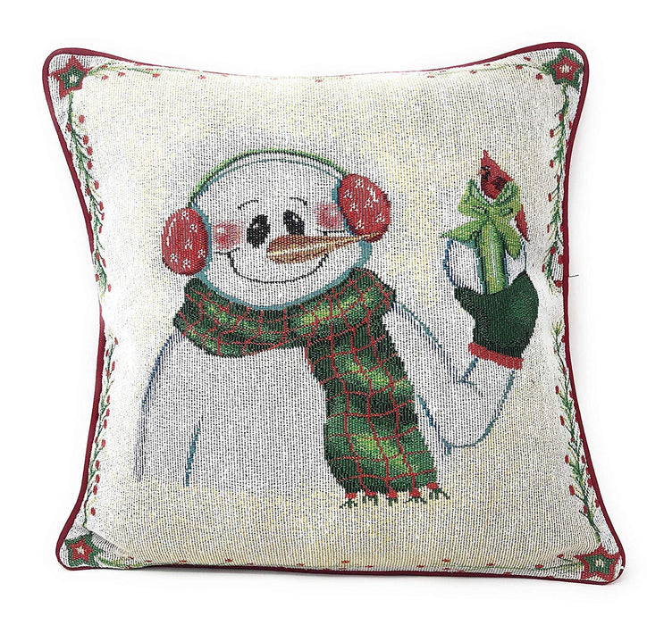 "DaDa Bedding Set of 4 Pieces - Magical Santa Snowman Gingerbread Christmas Holiday Tapestry Throw Pillow Covers Bundle Pack - 16"" x 16"""